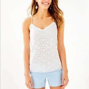 Lilly Pulitzer Eyelet Dusk Ruffled Tank Top